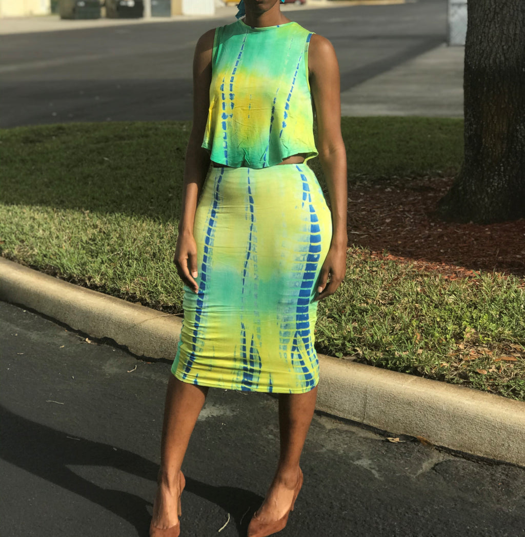 Tropical Contrast Midi Dress