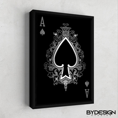 Ace of Spades Silver Gallery Canvas Wall Art - By Design Studios