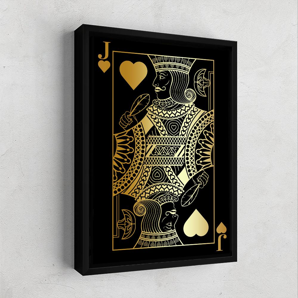Jack of Hearts Gold Gallery Canvas Wall Art - By Design Studios