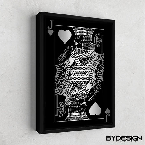 Jack of Hearts Silver Gallery Canvas Wall Art - By Design Studios