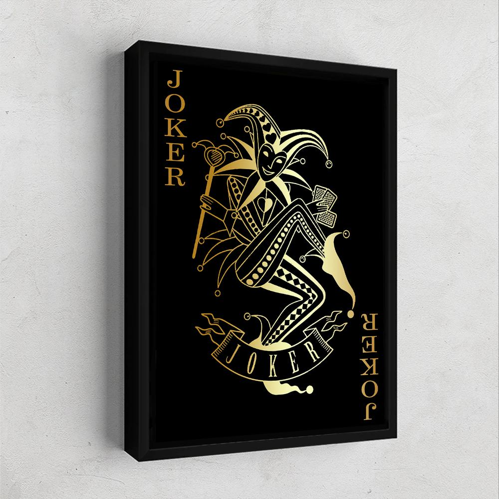 Joker Card Gold Gallery Canvas Wall Art - By Design Studios