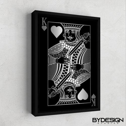 King of Hearts Silver Gallery Canvas Wall Art - By Design Studios