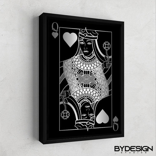 Queen of Hearts Silver Gallery Canvas Wall Art - By Design Studios