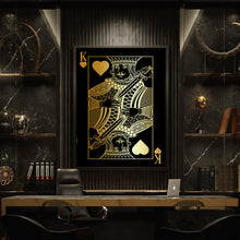 Load image into Gallery viewer, King of Hearts Gold Gallery Canvas Wall Art - By Design Studios