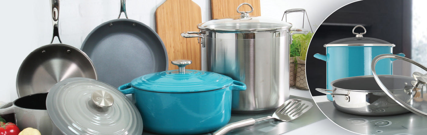 cookware collection cast iron stainless steel enamel on steel stockpots pans ceramic coated
