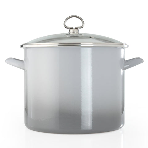 Enamel on steel 8 quart stock pot for chipotle crab and corn soup