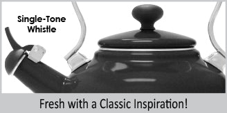enamel on steel vintage teakettle 1.7 quart capacity quality exterior enamel & interior enamel