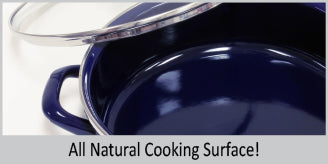 enamel on steel 8 quart stock pod with all natural cooking surface