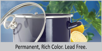 8 quart enamel on steel stock pot permanent rich color that will not fade