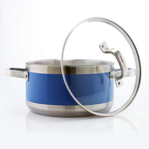 blue stripes 6 quart stock pot with lid on white background