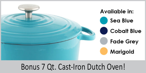 11 piece induction 21 set with colored cast iron dutch ovens