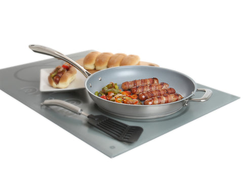 bacon wrapped hot dogs in coated induction 21 stainless steel 12 1/2 inch fry pan