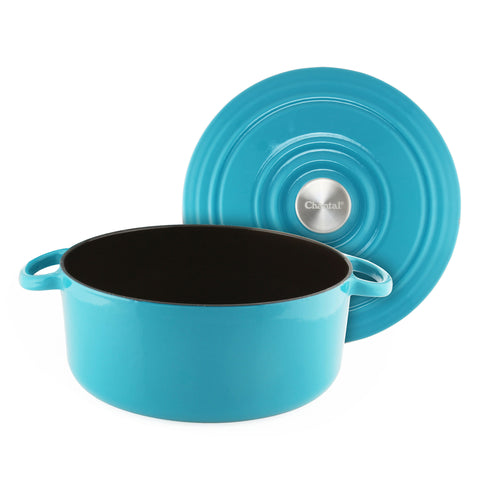 7 qt cast iron dutch oven in aqua used for beer braised pulled pork sliders