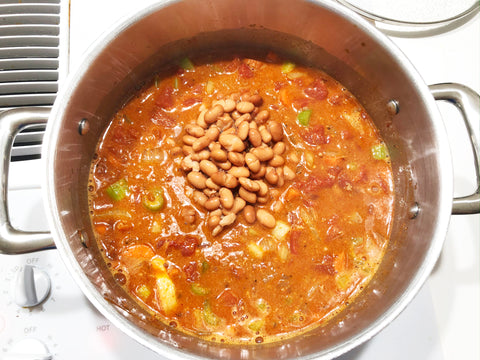 add in tomato and beans for bean soup in induction 21 stainless steel 6 quart stockpot