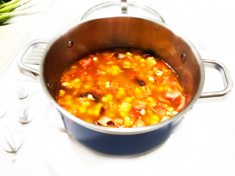add broth cover and simmer step to posole soup in 6 quart stirpes stock pot