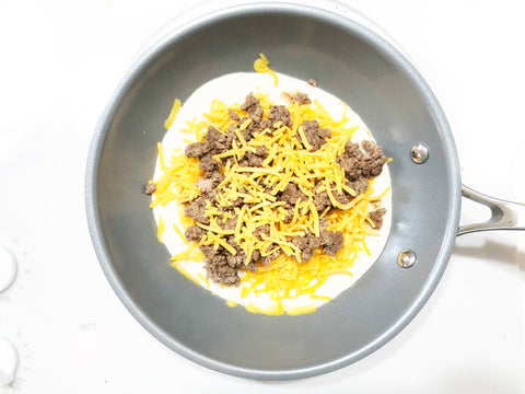 adding cheese to tortilla in 10 inch coated induction 21 steel fry pan for hamburger quesadillas