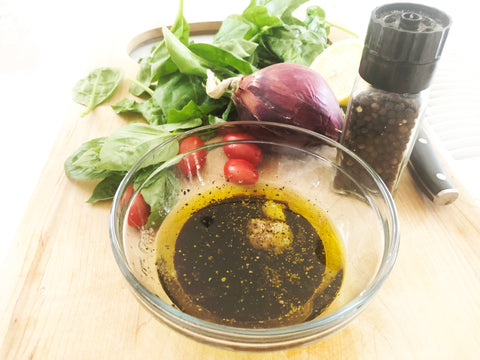 dressing ingredients together for orzo pasta salad