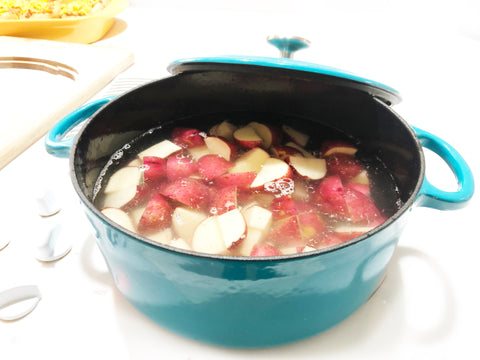 boil potatoes in 7 qt dutch oven for creamy old bay potato salad