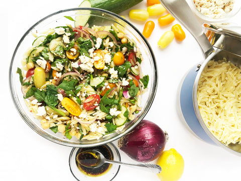 orzo pasta salad with stripes 2.5 quart saucepan with strainer lid