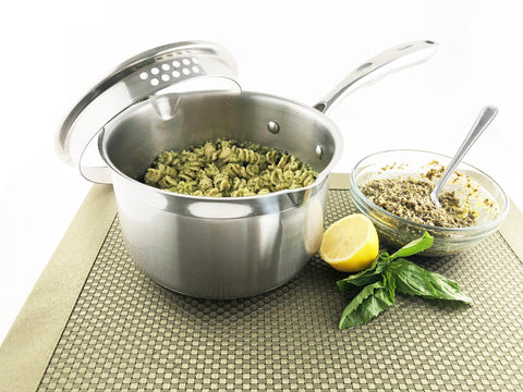broccoli pesto pasta in induction 21 2.5 quart sauce pan with pour spout and strainer lid