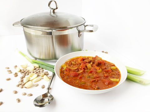 final chorizo and bean stew in 6 quart induction 21 stainless steel casserole