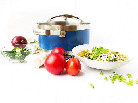 Stripes 6 quart stock pot with glass lid  and posole soup