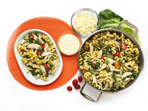 caesar chicken pasta salad in 3 clad 5 quart tri ply sauteuse and plated salad