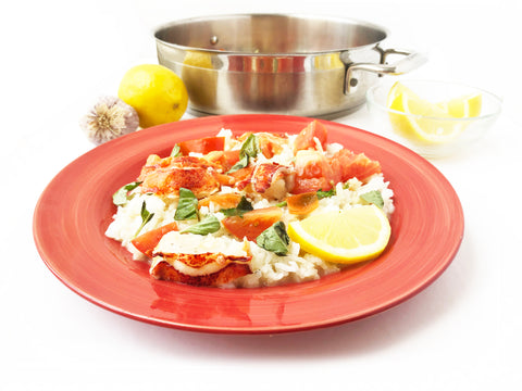 poached plated butter lobster with tomatoes cooked in 5 quart induction 21 stainless steel sauteuse