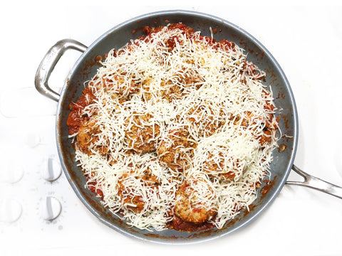 induction 21 steel coated 12.5 inch fry pan used for chicken meatball parmesan
