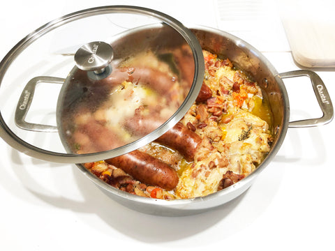 final dish after adding sausages tocassoulet recipe in 5 at 3 clad polished sauteuse