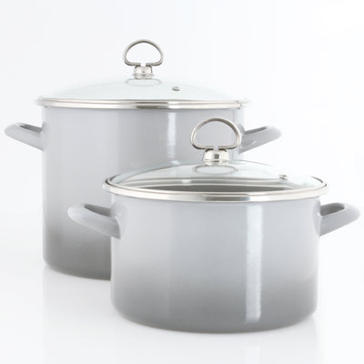 2 piece enamel on steel cookware set stockpot soup pot in grey