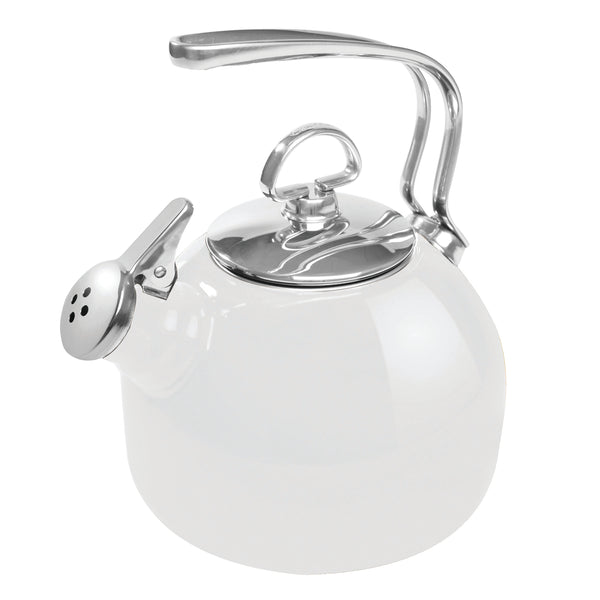 Enamel-on-Steel Classic Teakettle 1.8 Quarts in white