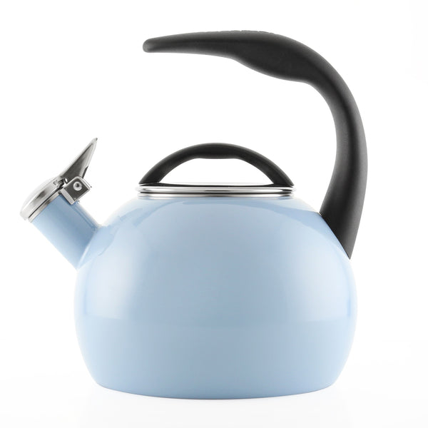 Enamel-on-Steel Anniversary Teakettle Collection 2 Quart side view in light blue
