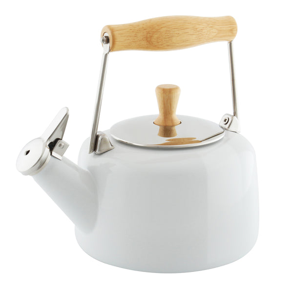 Enamel-on-Steel Sven Teakettle 1.4 Quarts in white