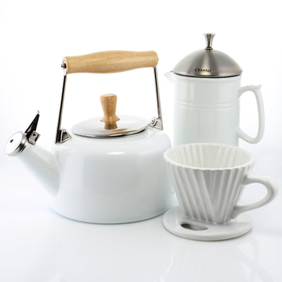 sven kettle craft coffee set french press ceramic filter white color