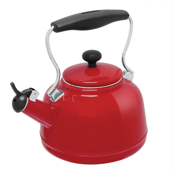 Enamel-on-Steel Vintage Teakettle Collection 1.7 Quarts in red