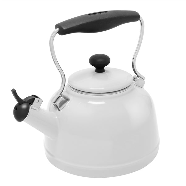 Enamel-on-Steel Vintage Teakettle Collection 1.7 Quarts in white