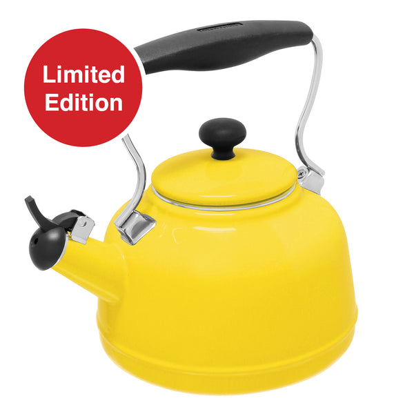 enamel on steel vintage kettle limited edition canary yellow