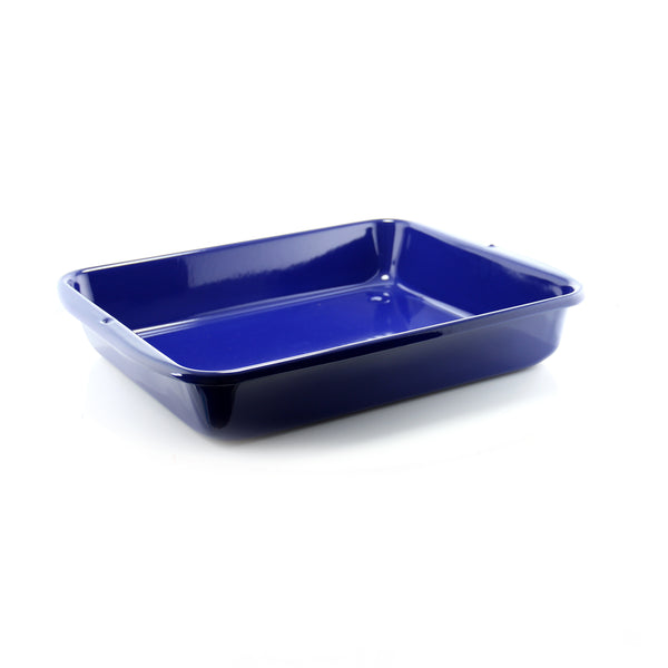 cobalt blue high sided enamel bakeware oven dish