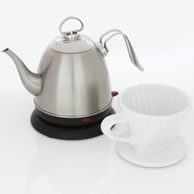 Craft coffee set with white lotus filter and brushed stainless steel mia electric kettle