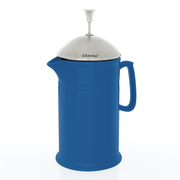blue cove ceramic french press with stainless steel plunger