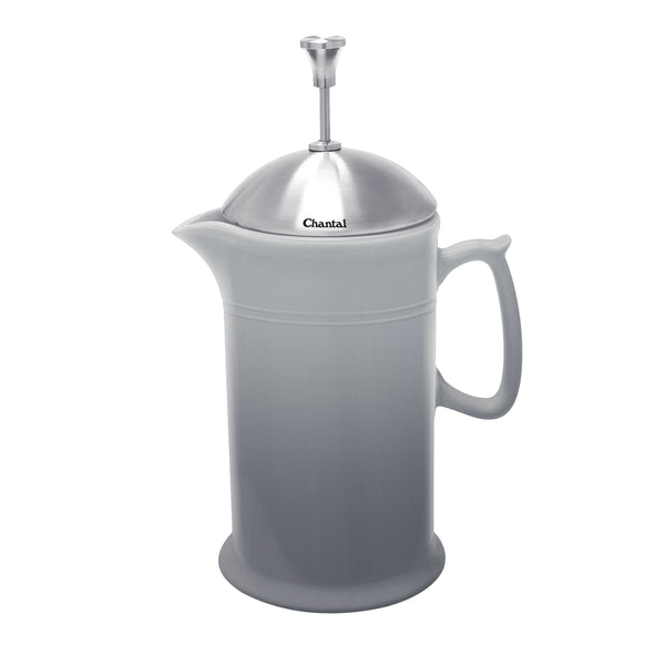 fade grey ceramic french press with stainless steel plunger