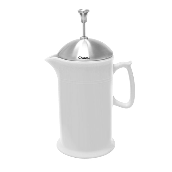 glossy white ceramic french press with stainless steel plunger