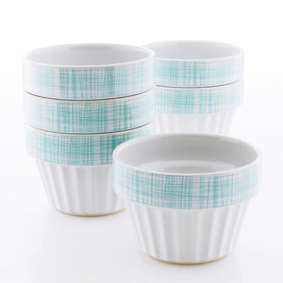 white and aqua Stackable Ramekins,  Set of 6 (1 Cup)