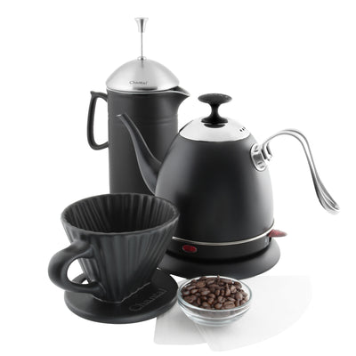 artisan coffee set with mia electric kettle french press and ceramic filter in matte black