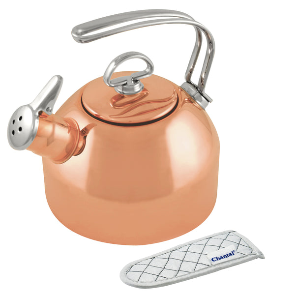 class teakettle in copper finish with handle mitt