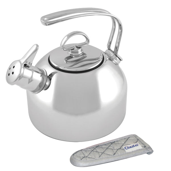 stainless steel classic tea kettle with handle mitt
