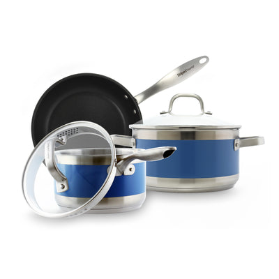 stripes by chantal 5 piece essential cookware set including nonstick fry pan saucepan and 6 qt stock pot