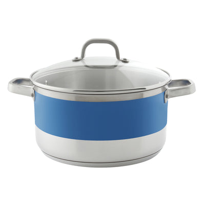 blue stripes by chantal 6 quart stock pot with glass lid