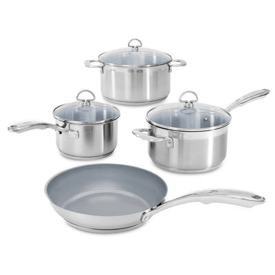 induction 21 steel 7 piece ceramic coated cookware set